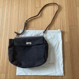 Marni real brown suede flap satchel bag